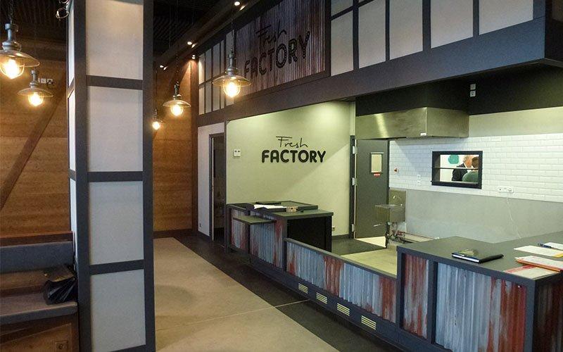 Création comptoir restaurant Fresh factory